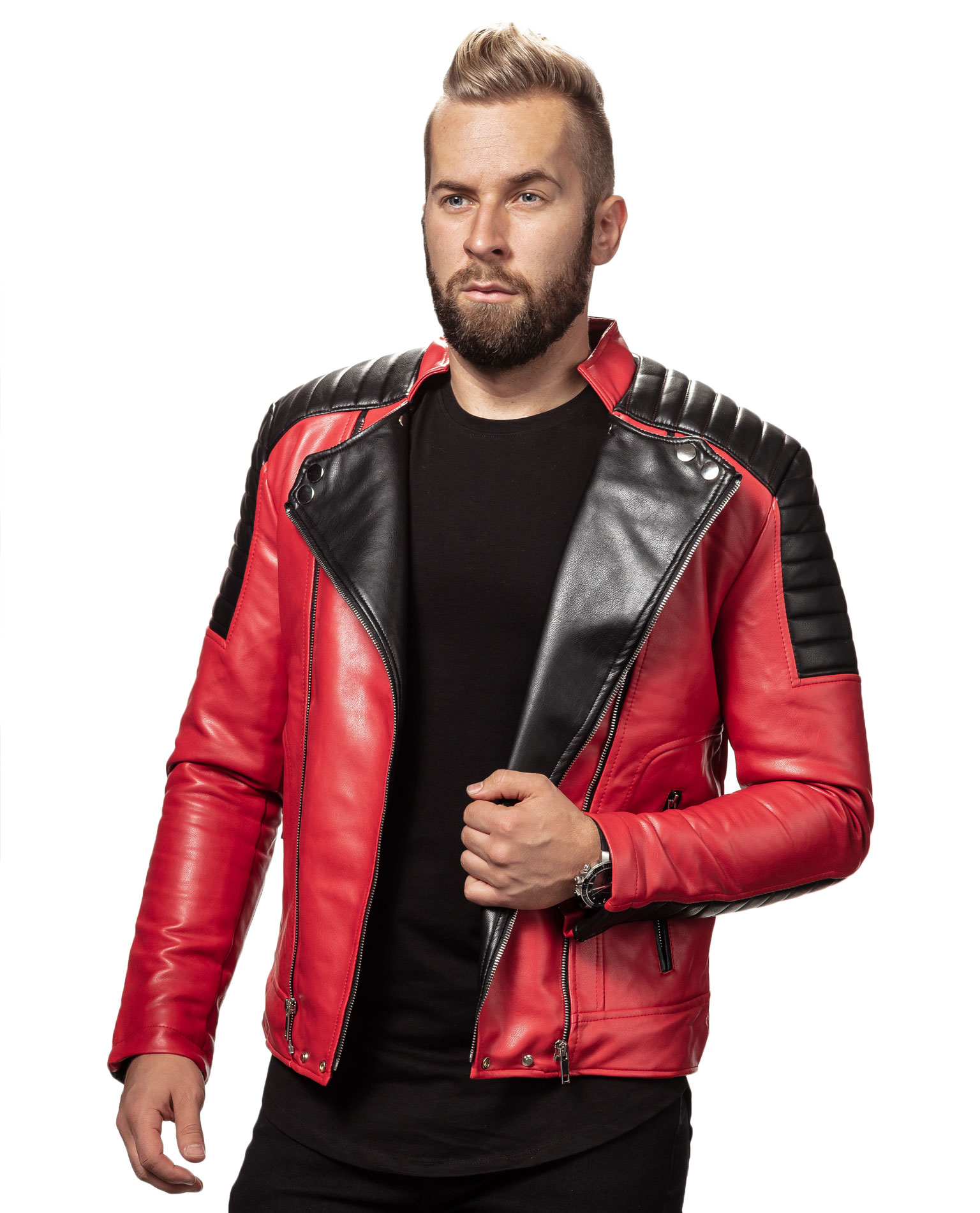 Red Faux Biker Jacket Jerone 9639 - Leather Jackets - Jerone.com 928cf081d4